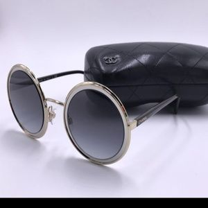 New CHANEL Pale Gold & Silver Metal Round Glasses